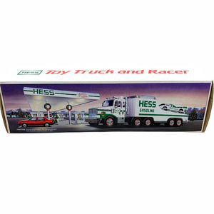 Vintage 1988 NEW Hess Gasoline Toy Truck + Race Car Lights Sounds Collectible